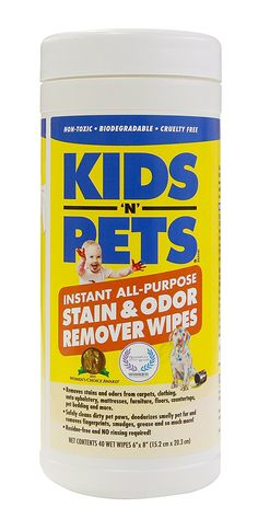 KIDS 'N' PETS Instant Stain and Odor Remover Wipes, 40 Count ** Unbelievable cat item right here! : Cat litter