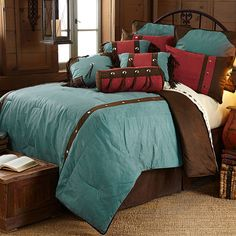 Cheyenne Tooled Faux Leather Southwestern Bedding Comforter Set w/ 3 Pillows Included by HiEnd Accents #DelectablyYours Western Bedroom Decor