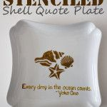 Stenciled Shell Quote Plate #bhgsummer