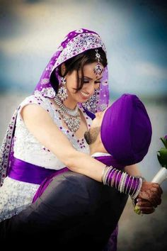 Purple Indian Bride and Groom.