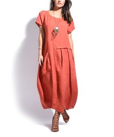 Look what I found on #zulily! Coral Side-Pocket Linen Maxi Dress #zulilyfinds