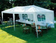 3 X 6M WHITE GAZEBO MARQUEE PARTY TENT OUTDOOR GARDEN CANOPY WEDDING AWNING  | eBay £60