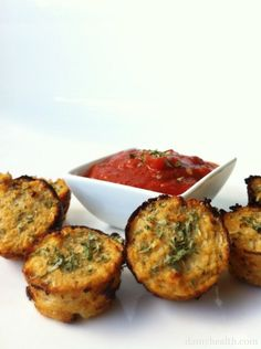 """Protein snacks for kids Pizza Cauliflower Bites: Guilt-Free Pizza Bites (Cauliflower Pizza Bites) """"Kid Friendly recipe. Adapted to be #paleo. #freezercooking #glutenfree """" """"2 Cups Grated Cauliflower (washed, dried and grated using a food processor or cheese grater by hand until rice-like or thinner – Note – Approximately one head of cauliflower) 1/4 Cup Egg Whites 1 Cup 1% Cottage Cheese (drained) 1 Tsp Oregano 2 Tsp Parsley 1/4 Tsp Garlic Powder 1 Tbsp Coconut Oil (Optional) 1-2 Tbsp…"""