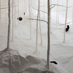 Visitors to the Hong Kong Arts Centre in Dec 2011 were able to stick their heads through the ceiling of one gallery to find themselves in a paper winter wonderland.  The installation by Takashi Kuribayashi comprises trees in a snowy landscape hovering above the gallery floor as part of an exhibition called Vision of Nature: Lost & Found in Asian Contemporary Art