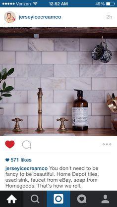 Home Depot tiles? Wall Lights, Ceiling Lights, Home Depot, Wine Rack, Floating Shelves, Faucet, Home Goods, Tiles, Sink