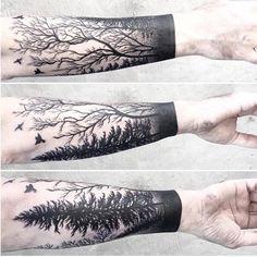 Forest arm by Caitlin. More tattoos at https://www.pinterest.com/zivtzi/ink-beautiful-geometric-tattoos-bird-tattoos-mens-/