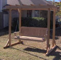 This item combines an all cedar garden arbor with one of our hand-crafted porch swings. Arbor Swing, Pergola Swing, Pergola Shade, Pergola Patio, Pergola Plans, Pergola Ideas, Landscaping Ideas, Cedar Garden, Garden Arbor