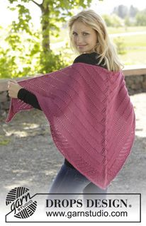 "Pink Diamond - Knitted DROPS shawl with lace pattern in ""Alpaca"". - Free pattern by DROPS Design"
