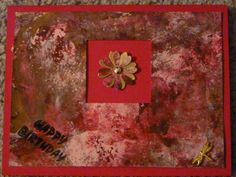 Gelli plate paper background--acrylic paints red, pink and gold.