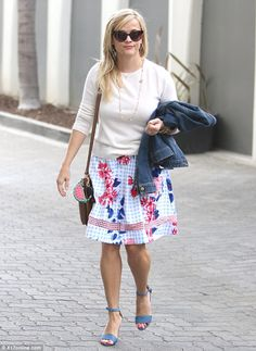 Clocking out: Reese Witherspoon, 41, was seen leaving her office in Brentwood on Wednesday...