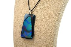Blue Fused Glass Necklace Dichroic Blue With Rainbow Pattern | Etsy Black Necklace, Boho Necklace, Fashion Necklace, Pendant Necklace, Glass Earrings, Glass Jewelry, Striped Earrings, Leaf Pendant, Photo Jewelry