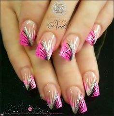 Pink, black, and silver nail design