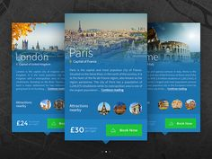 Nice blue color gradient with destination photos. Good layout and UI/UX elements