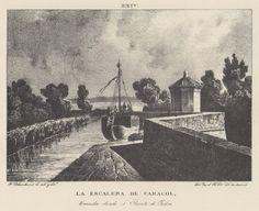 Grabado. Vista del Canal con el edificio de la escalera de caracol para bajar al río (1833). Grabato. Ambiesta d´o Canal con l´edefizio d´a escalera de caragol, ta baxar ta lo Xalón (1833)