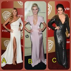 Hey ClassyChicks!  The fashion at the Golden Globes was amazing but the stars stepped it up even more at the after parties! Who do you think rocked their late night attire the best? A. Heidi Klum in a white one sleeved gown, B. Julianne Hough in a blush dress with a low v neckline, or C. Vanessa Hudgens whose gown combined both long sleeves and a deep neckline? Let us know!  www.ClassyChickClothingOnline.com