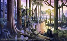 Flooded coal forest containing primitive plant species that existed during the Carboniferous period
