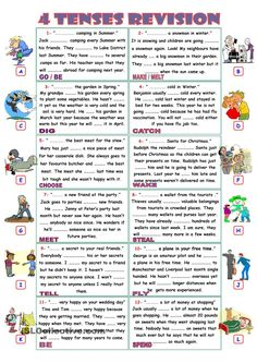 Fill the gaps with appropriate form of the verbs given in the boxes in the Simple Present, Past, Future and Present Perfect Tenses. All Tenses, Tenses Grammar, Verb Tenses, Worksheets For Kids, Printable Worksheets, English Lessons, Learn English, Teaching Verbs, English Grammar Exercises