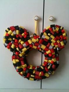 Mickey Mouse ribbon wreath- craft project for you :)   @ Melissa Fox