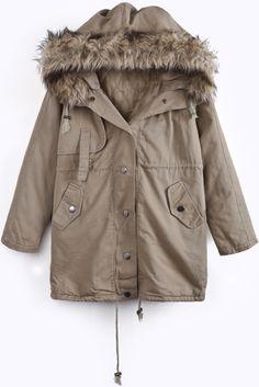 Khaki Removable Hooded Long Sleeve Parka US$31.15