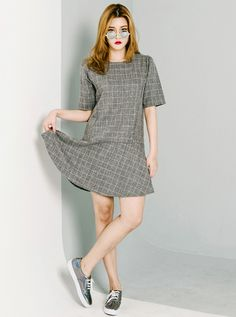 Short Shirred Sleeve Checkered Dress #KoreanFashion