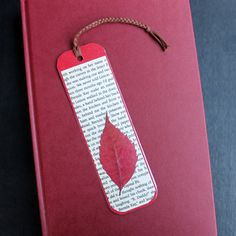 handmade-bookmark-using-pressed-leaf-laminated-with-packing-tape