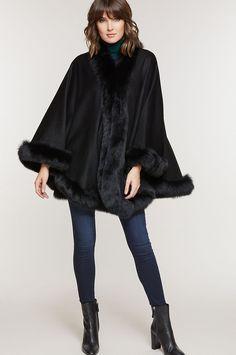 Jodie Cashmere Cape with Fox Fur Trim Fur Trimmed Cape, Fur Cape, Womens Cape Coat, Cashmere Cape, Capes For Women, Fox Fur, Well Dressed, Making Ideas, Winter Fashion