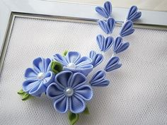 Kanzashi fabric flower hair clip with by MARIASFLOWERPOWER on Etsy