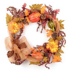 If you're a glitter lover, this one's for you! Our shimmering Glitter Pumpkin Wreath features a sparkling burlap bow, glittery pumpkins, pine cones, and berries! #kirklands #glitter #harvest