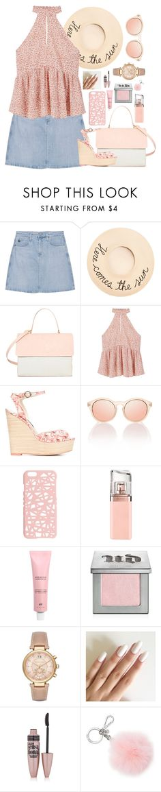 """Untitled #492"" by liora134 ❤ liked on Polyvore featuring AG Adriano Goldschmied, Eugenia Kim, Eddie, MANGO, Sophia Webster, Le Specs, Miss Selfridge, HUGO, Urban Decay and Michael Kors"