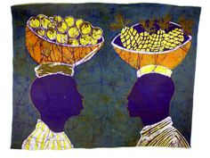 Batik Wallhanging  African Fruit Sellers  by OurTalkingHands