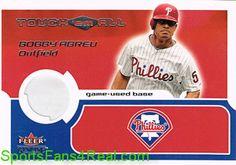 2002  Fleer Genuine Touch Em All Game Base #22 Bobby Abreu  #'d to 350 Game Used Base card
