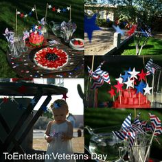 To Entertain, Veterans Day, Patriotic, 4th of July, Red White and Blue, Stars and Stripes, Hooked on Arts n Crafts Star Garland, thePathLessTraveled Cake toppers and Cupcake picks, aubabi78 Spinning Pinwheels.