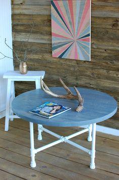 Coastal Coffee Table, Round Industrial Coffee Table, Reclaimed Wood Furniture, Greywash  - Free Shipping