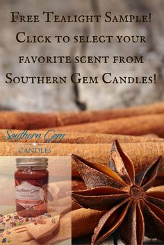 Southern Gem Candles. FREE Tealight Sample of your choice shipped directly to you. Simply repin this pin and click to choose your scent.  http://southerngemcandles.us8.list-manage2.com/subscribe?u=4a2aa53b5977a4ac63e8b6efd&id=8ae505653c