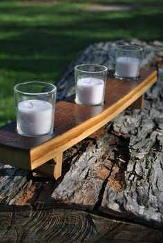 Whiskey Barrel 3 Candle Holder Reclaimed Wood by 1933Designs, $35.00