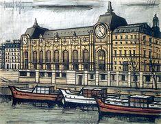 Bernard Buffet Gare d' Orsay. Georges Seurat, Paris Street, Street Art, Maurice Utrillo, Illustrator, Paris 1900, Paris Painting, Great Philosophers, Fantasy Castle