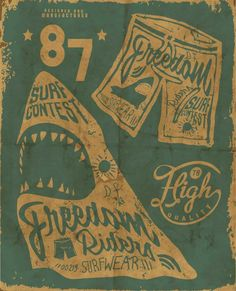 retro surf poster | @Singlefin