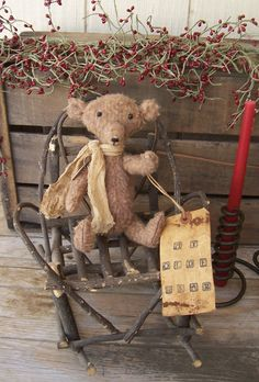 Primitive VintageStyle Heirloom Teddy Bear by VintageKeepsakeTrunk, $25.00