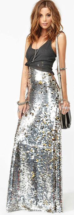 Nasty Gal Gina Sequin Maxi Skirt. I think I'll try to find something like this for New Year's. At Goodwill.