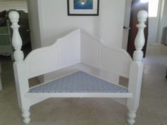 Upcycle!  Corner bench made from a head board.