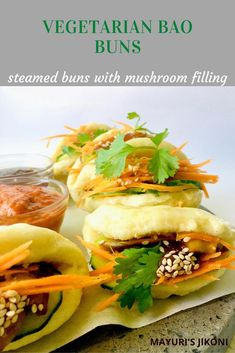 Healthy, steamed, fluffy, soft, delicious veggie bao buns. Perfect as a starter or as a light meal. Use a filling of your choice. #steamedfood #steamedbuns #baobuns #chinesecuisine #healthyfood #buns #bao #streetfood