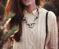 Cableknit and pearls