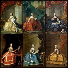 The six surviving daughters of Louis XV and Marie Leszczyńska.  From L to R: Madame Infante Louise Elisabeth, Madame Anne Henriette, Madame Adelaide, Madame Victoire, Madame Sophie, and Madame Louise Marie.