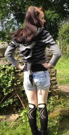 Upcycled Hooded Cropped Cardigan Recycled Vintage Wool Knitwear in Black, and grey. Small OOAK Handmade in UK.