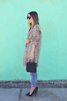 Leopard coat, grey tee, boyfriend jeans, heels