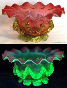 Footed Marmalade by mrvaselineglass, via Flickr - the vaseline glass part fluoresces under black light.