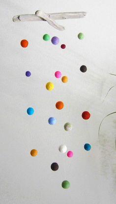 DRIFTWOOD and Colorful FELT BALLS Mobile Handmade by FeelFeltFelt