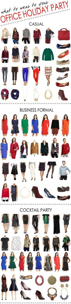 what to wear to your casual, business formal, or cocktail holiday work party!