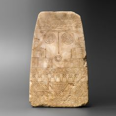 Near Eastern Alabaster Plaque with an image of ritual worship                                                                                      25775                                          Culture :                 Near Eastern, Syrian                                           Period : early 3rd millennium B.C.                                       Material : Alabaster