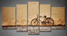5 Panel Wall Art Old Rusty Vintage Bicycle Near The Wall Painting Pictures Print On Canvas Architecture The Picture For Home Modern Decoration piece (Stretched By Wooden Frame,Ready To Hang) Wall Art Pictures, Canvas Pictures, Pictures To Paint, Print Pictures, Painting Pictures, Modern Artwork, Artwork Prints, Canvas Art Prints, Frames On Wall